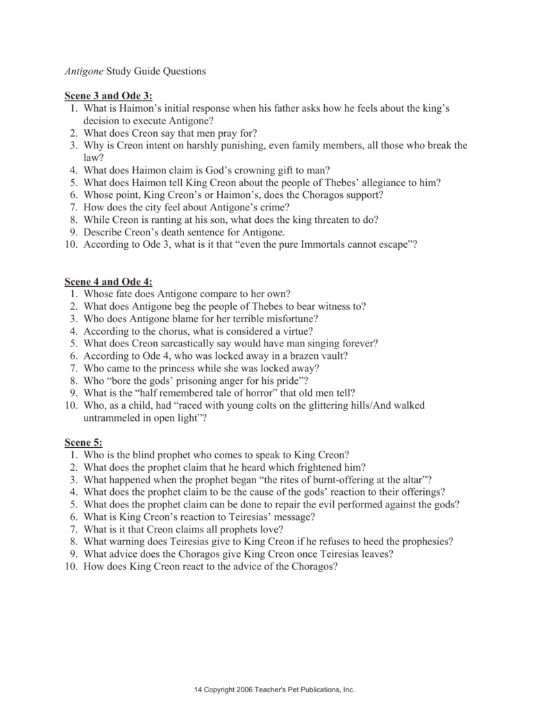 Worksheets Antigone Worksheet Answers antigone study guide questions scene 3 and ode 1 what is