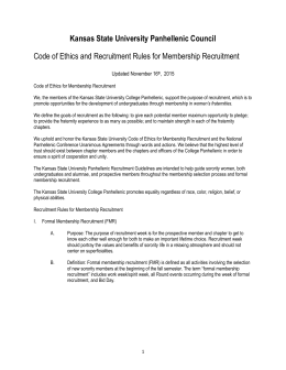 Code of Ethics and Rules for Membership Recruitment