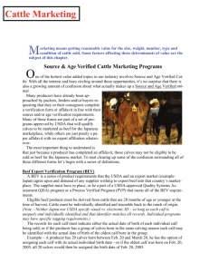 Cattle Marketing - Beef Quality Assurance Program