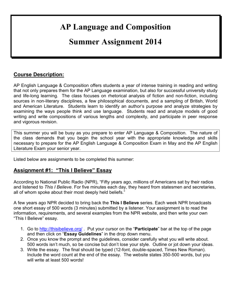 ap language and composition summer assignment