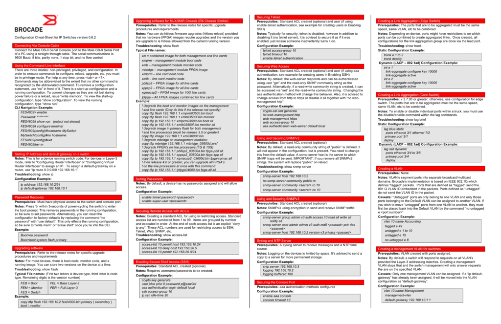 Configuration Cheat-Sheet for IP Switches version 0 6 2 Connecting