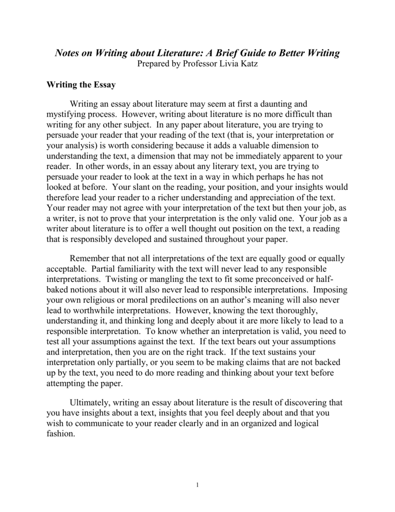 English Literature Essay Questions  Essay Papers Online also Thesis Statement In Essay Notes On Writing About Literature How To Write A High School Essay