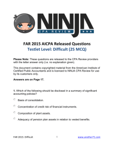 AICPA Released CPA Exam Questions FAR 2015