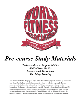 Pre-course Study Materials - World Fitness Association