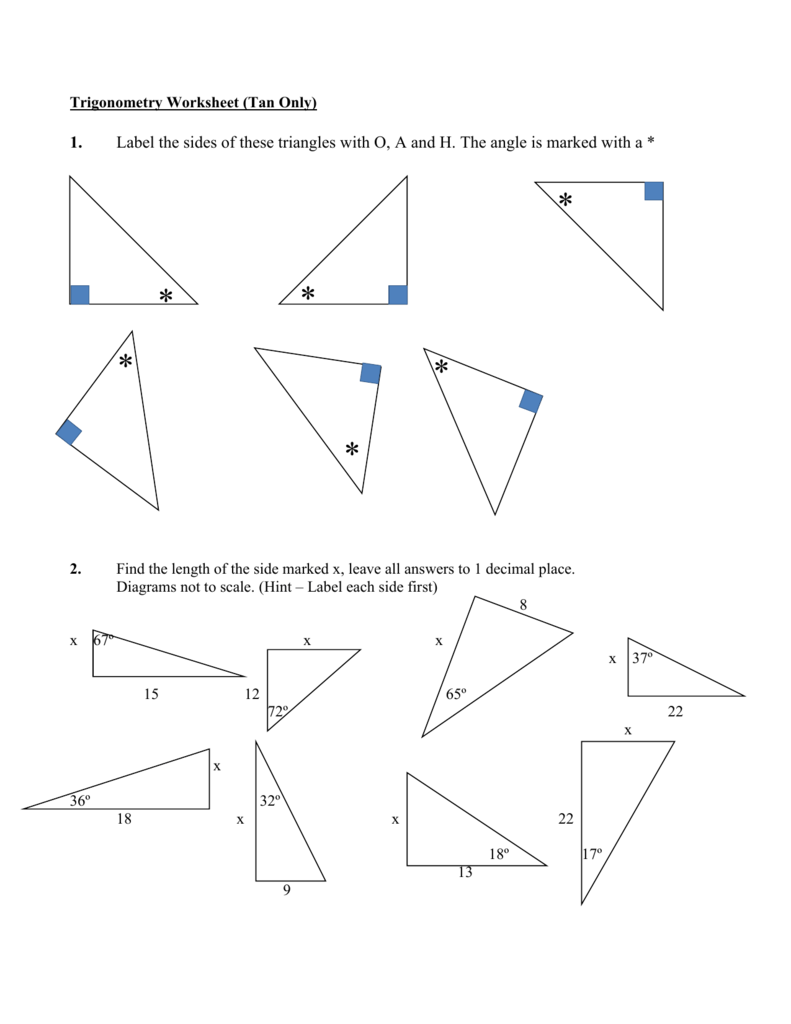 Worksheets Tangent Ratio Worksheet trigonometry worksheet tan ratio