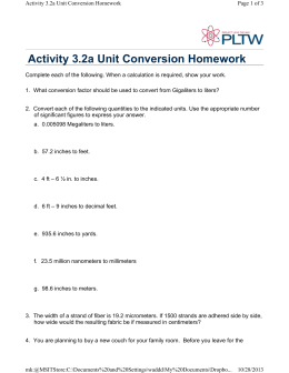 Activity 3.2a Unit Conversion Homework
