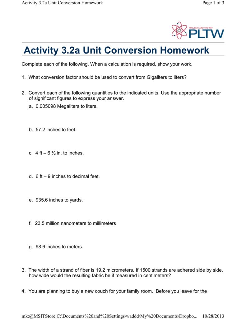 3.2a unit conversion homework answer key