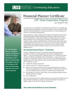 Financial Planner Certificate - USF