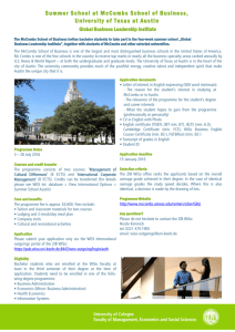 Summer School at McCombs School of Business, University of
