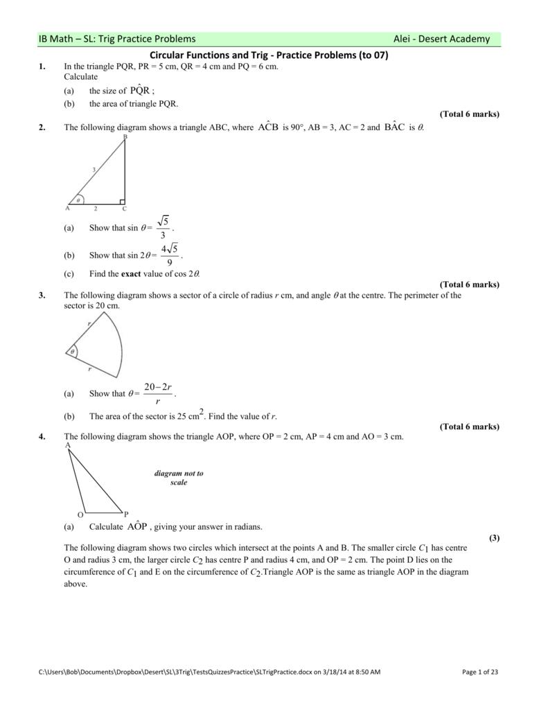 Ib math sl trig practice problems alei ccuart Images