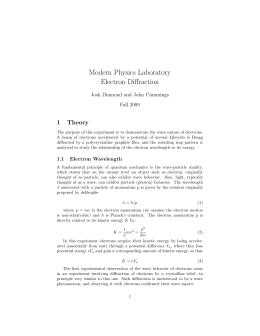Modern Physics Laboratory Electron Diffraction