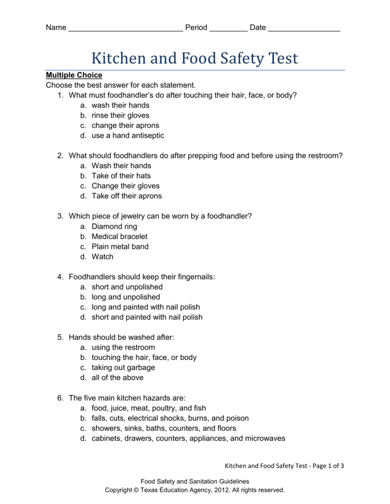 Food Safety Test Online Free