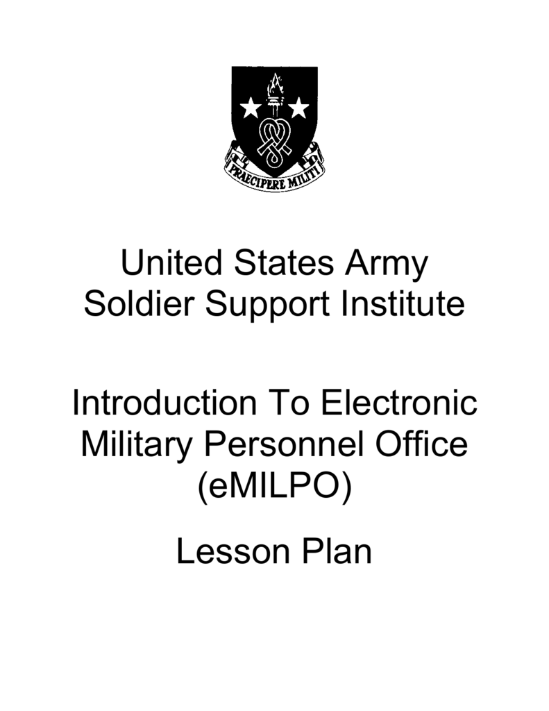 United States Army Soldier Support Institute Introduction To