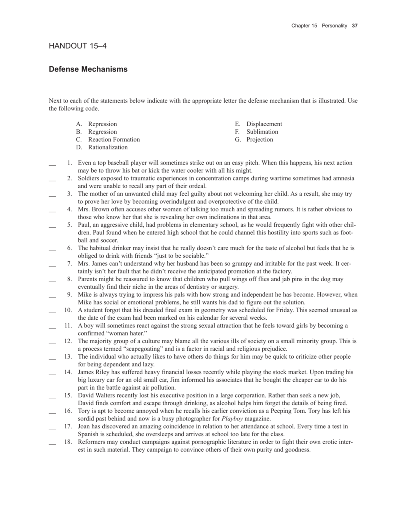 HANDOUT 15 4 Defense Mechanisms – Defense Mechanisms Worksheet