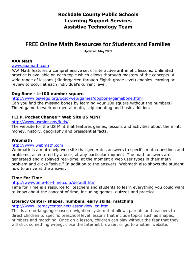 FREE Online Math Resources for Students and Families
