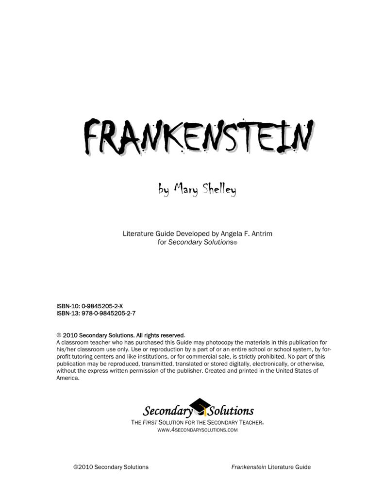 Frankenstein Literature Guide 2010 Secondary Solutions Answers 1600cc Volkswagen Trike Wiring Diagram Rh Studylib Net