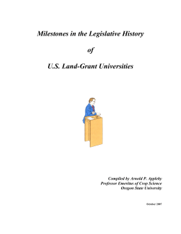 Milestones in the Legislative History of U.S. Land