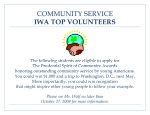 COMMUNITY SERVICE IWA TOP VOLUNTEERS