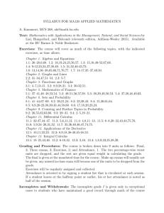 SYLLABUS FOR MA120 APPLIED MATHEMATICS A. Kanamori
