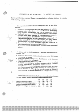 ACCOUNTING 30S WORKSHEET ON ADJUSTING ENTRIES Put on