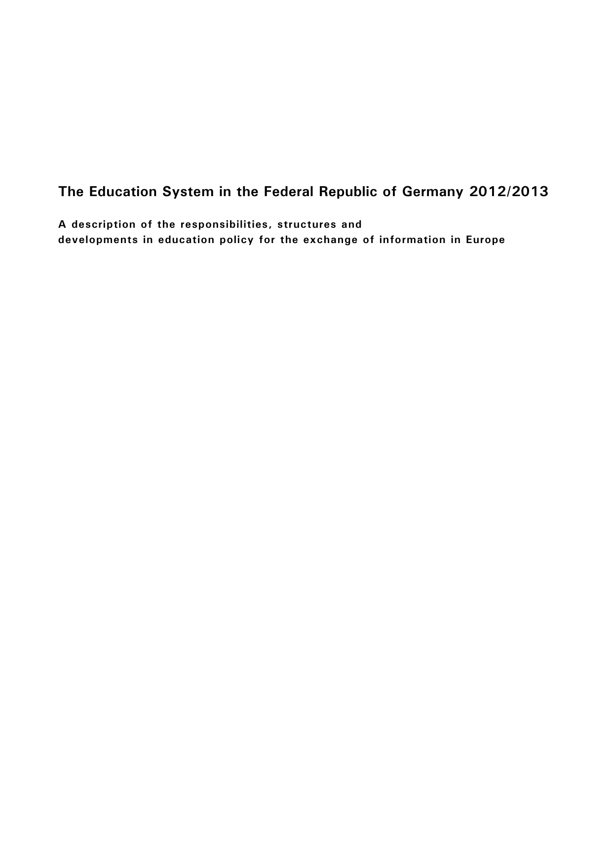 The Education System in the Federal Republic of Germany 2012/2013