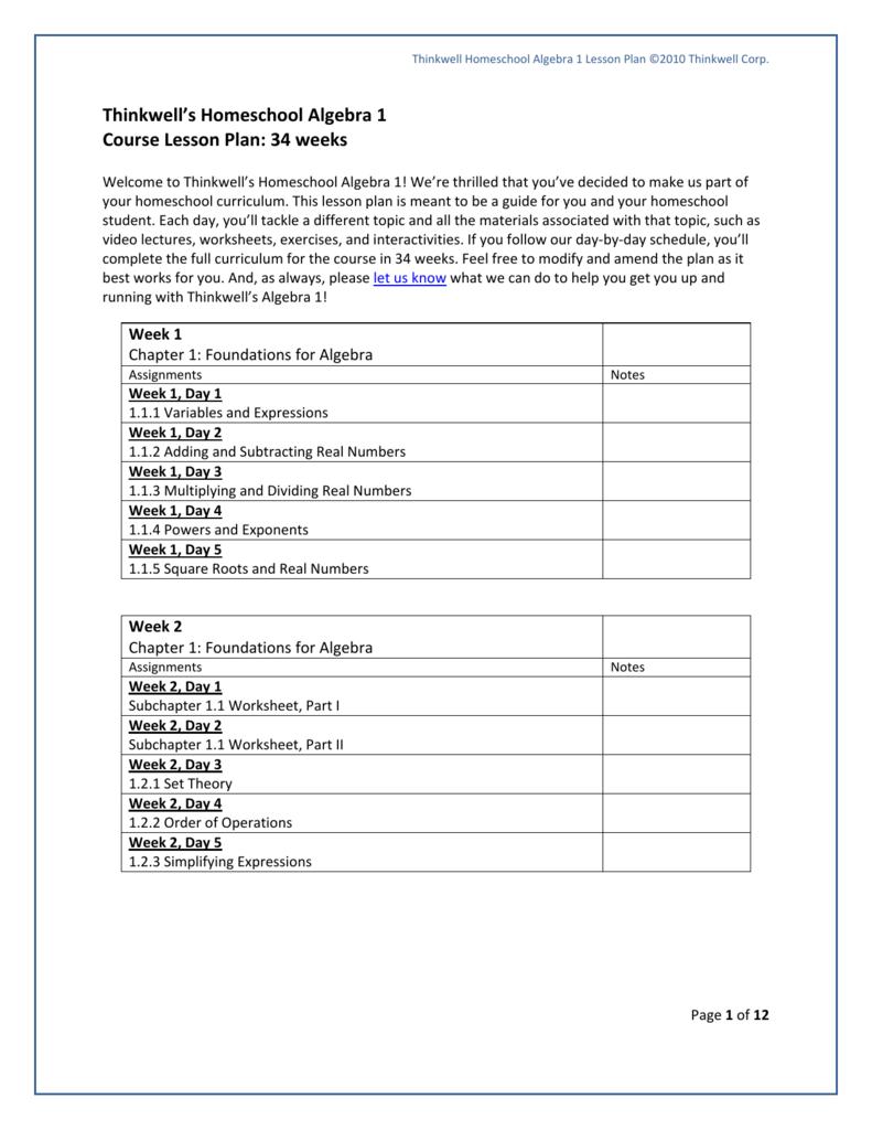 Thinkwell s Homeschool Algebra 1 Course Lesson Plan 34 weeks