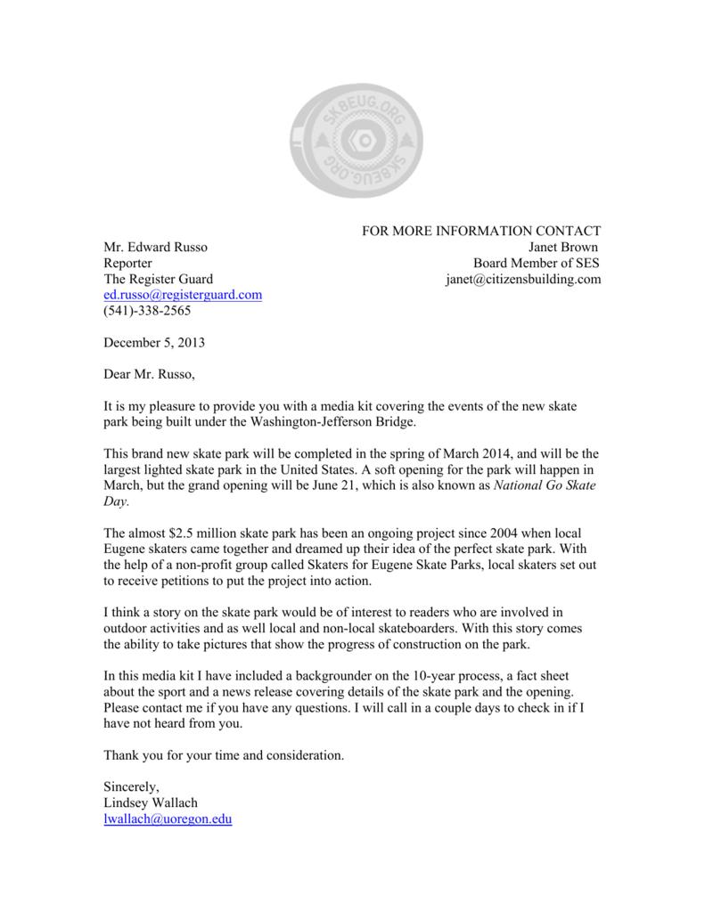 ROUGH DRAFT MEDIA KIT(Cover Letter)