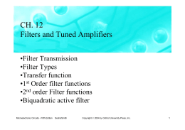 CH. 12 Filters and Tuned Amplifiers