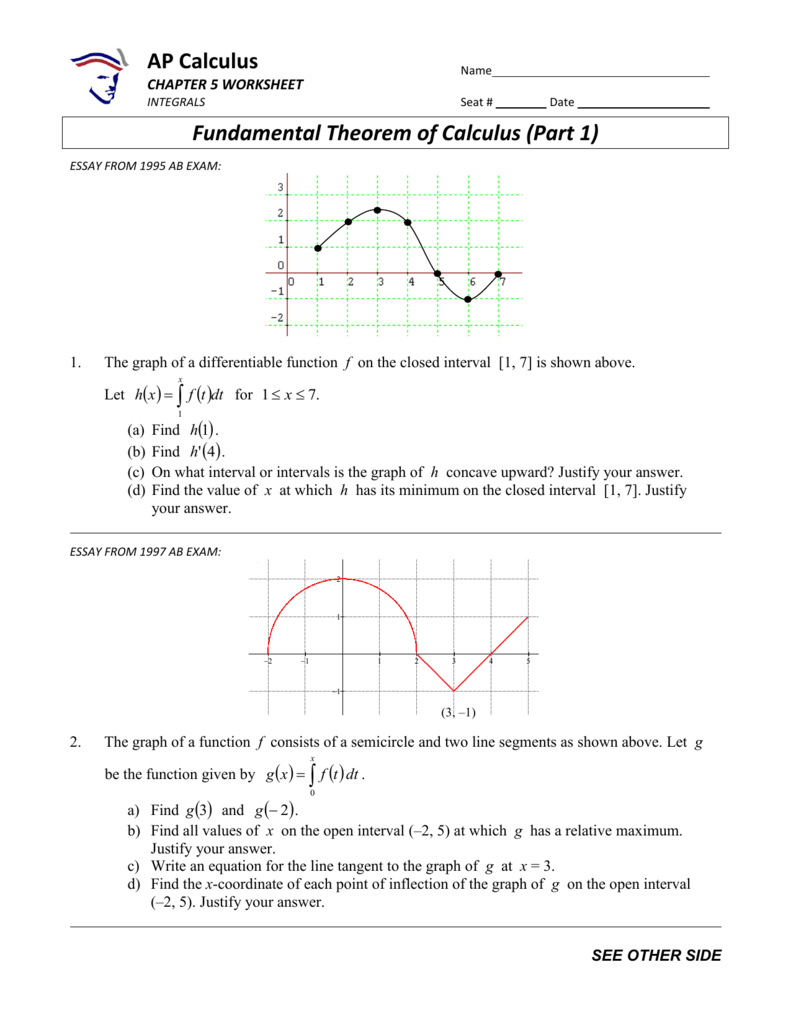 worksheet Ap Calculus Worksheets ap calculus fundamental theorem of part 1