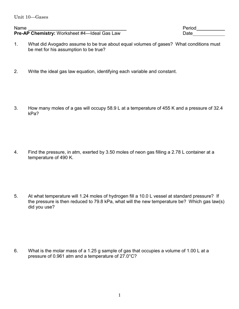 Worksheets Ap Chemistry Worksheet unit name period pre ap chemistry worksheet 4
