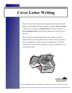 Johnson State College Cover Letter Writing Guide