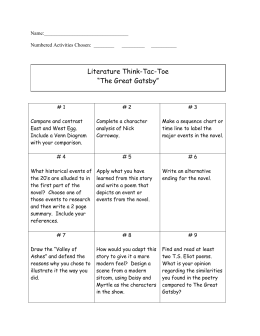 "Literature Think-Tac-Toe ""The Great Gatsby"""