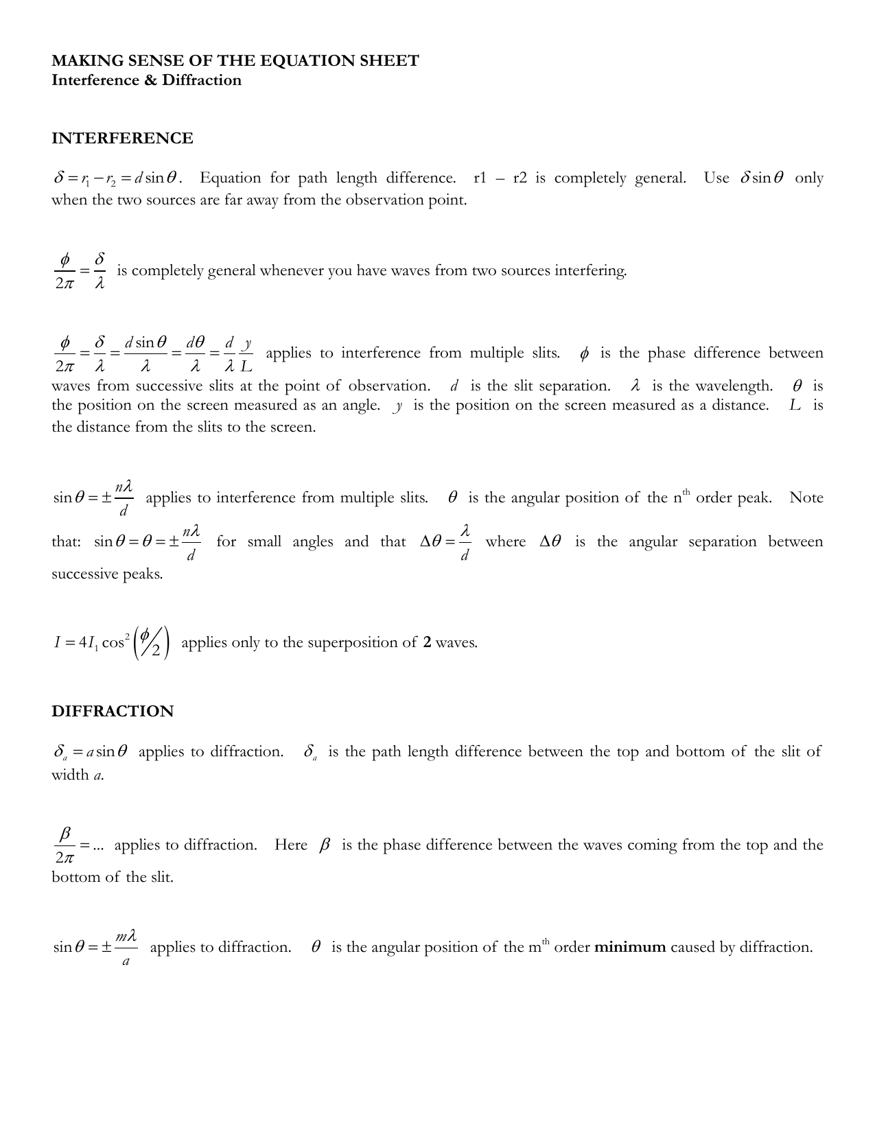 Formula sheet guide: FormulaCheatSheet