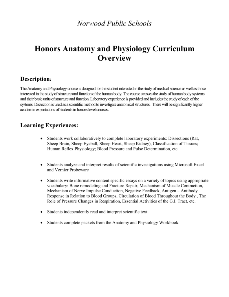 Honors Anatomy and Physiology Curriculum Overview