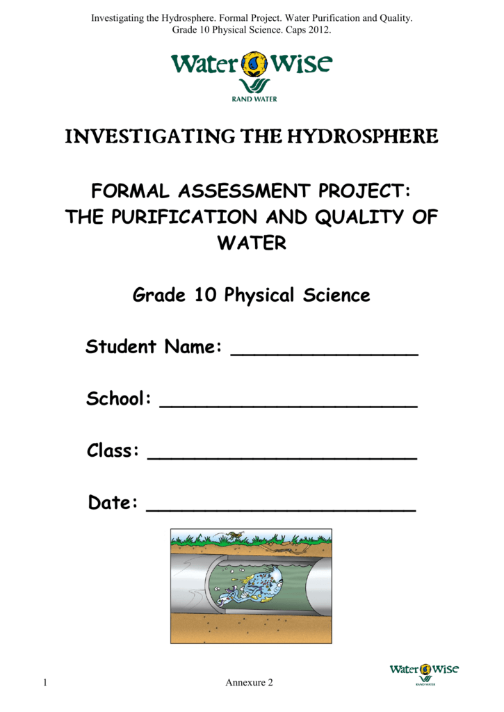 FORMAL ASSESSMENT PROJECT THE PURIFICATION AND – Formal Assessment