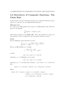 3.3 Derivatives of Composite Functions: The Chain Rule