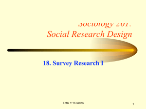 Sociology 201: Social Research Design