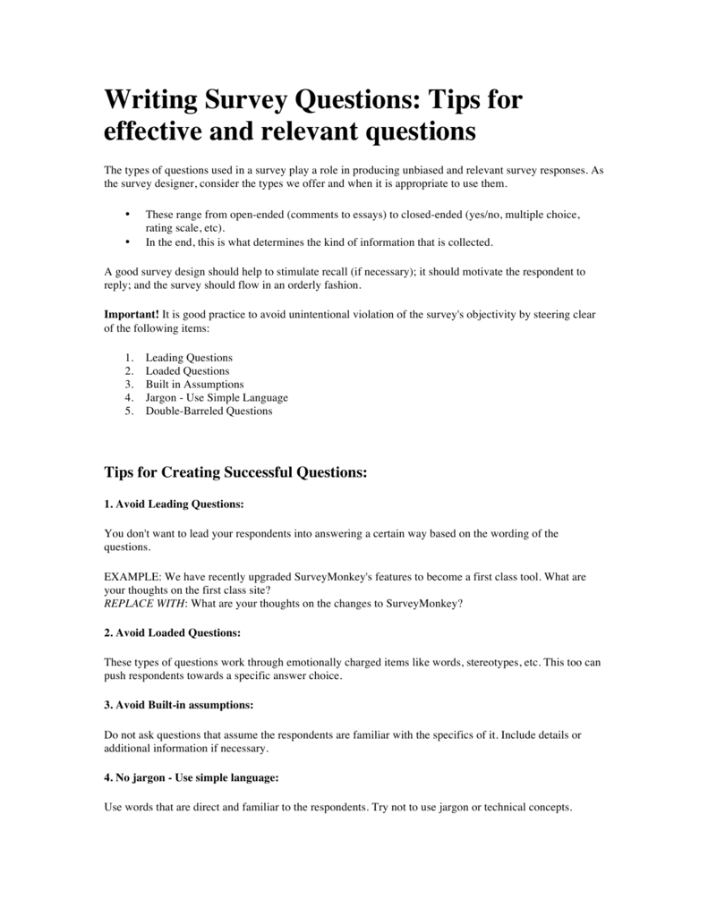 Writing Survey Questions: Tips for effective and relevant questions