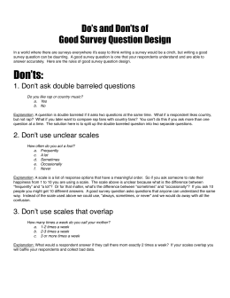 Do's & Don'ts of Good Survey Question Design