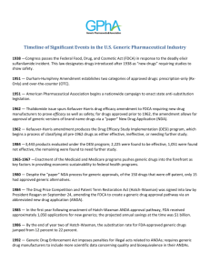 Timeline of Significant Events in the U.S. Generic Pharmaceutical