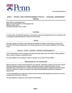 2363 - Spousal and Dependent Travel and Entertainment
