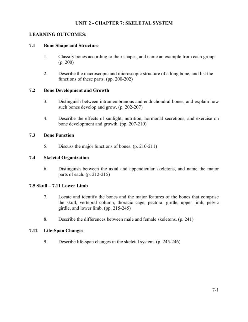 CHAPTER 7: THE SKELETAL SYSTEM