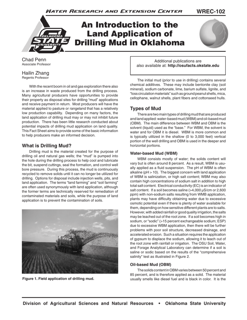 WREC-102 An Introduction to the Land Application of Drilling