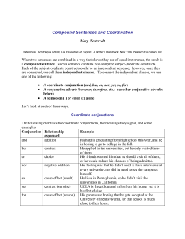 Compound Sentences and Coordination - SEAS