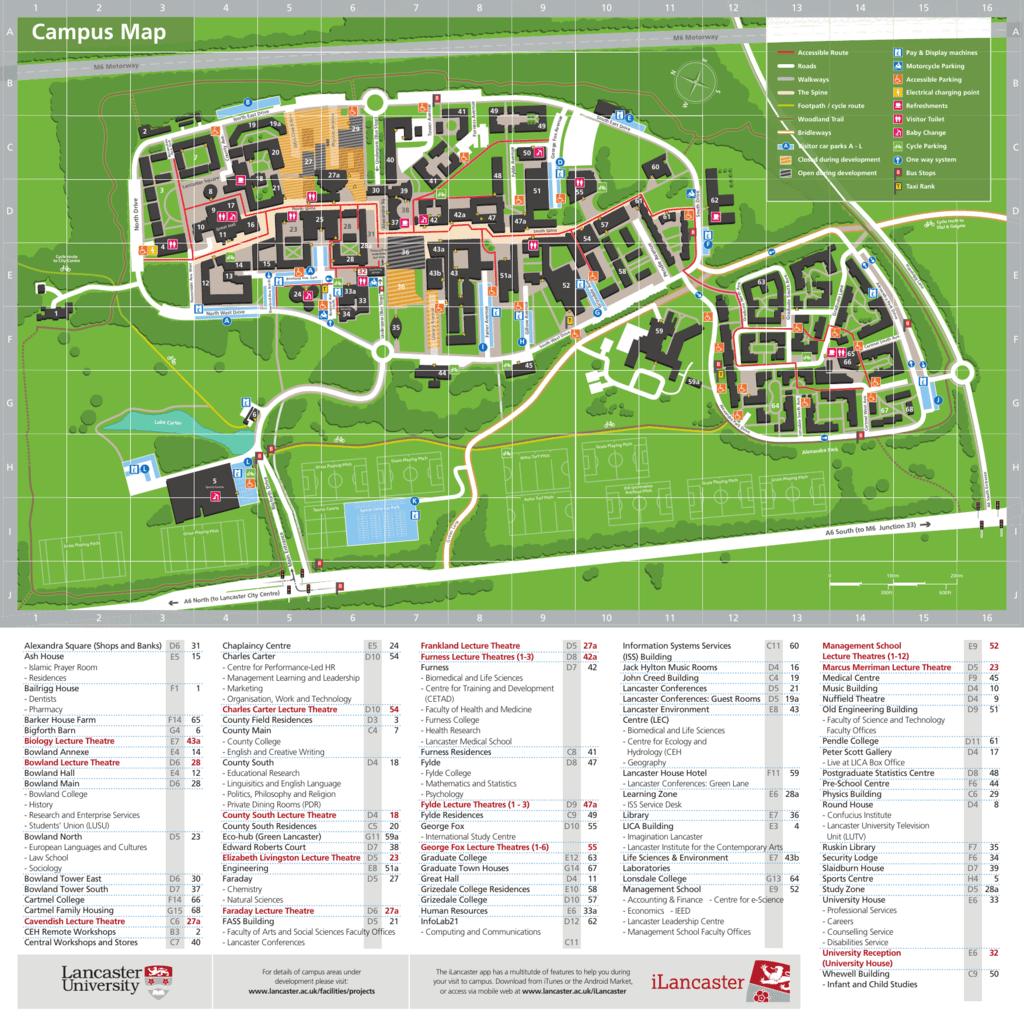 Lancaster Campus Map Campus Map Master   Lancaster University