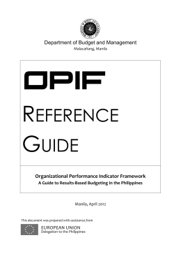 (OPIF): A Guide to Results-Based Budgeting in the Philippines