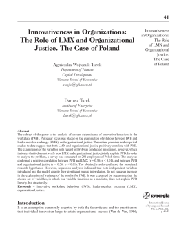 Innovativeness in Organizations - International Journal of Synergy