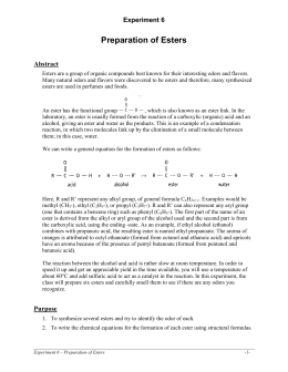 lab preparation of esters Student worksheet  activity 23: making esters from alcohols and carboxylic acids  objective • be able to carry out esterification reactions safely.