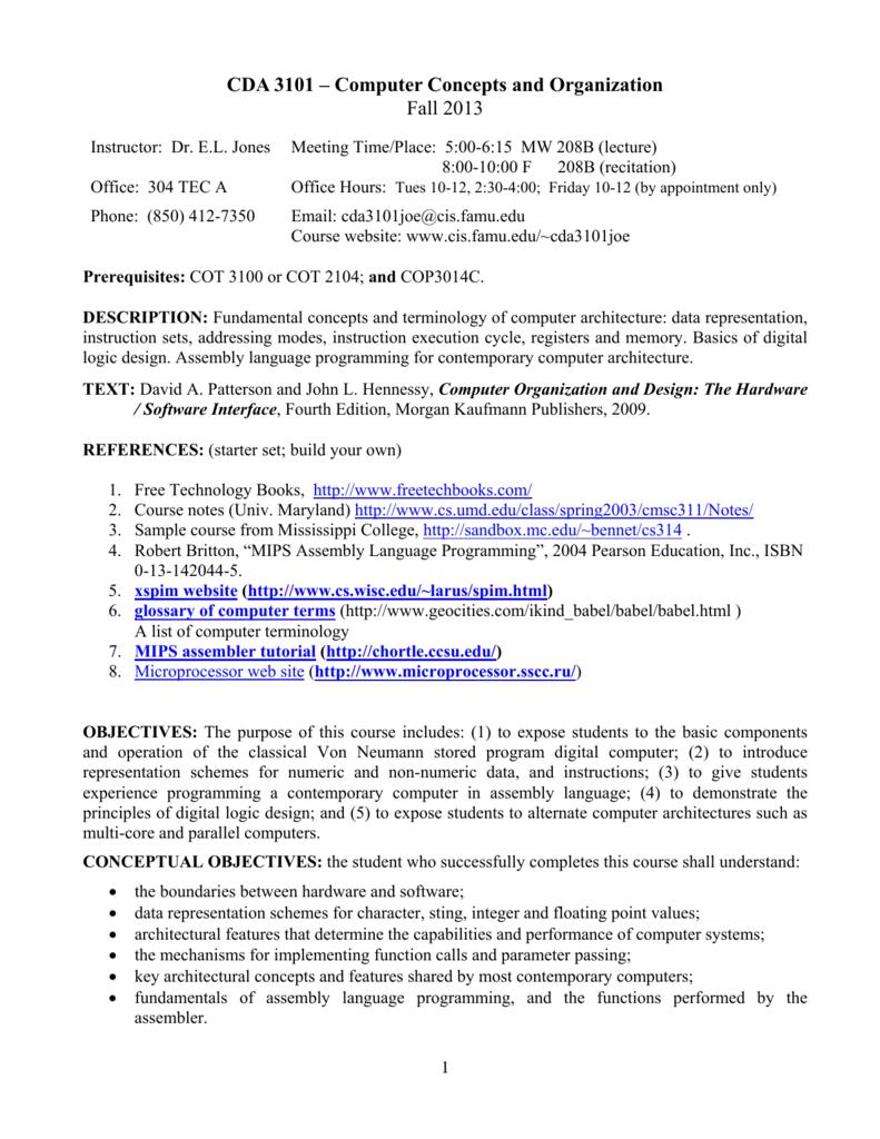 Cda 3101 Computer Concepts And Organization Fall 2013