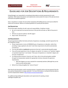GUIDELINES FOR JOB DESCRIPTIONS &REQUIREMENTS